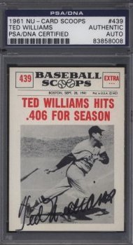 1961 Nu-Card Ted Williams Autographs PSA/DNA