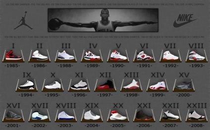 Michael Jordan shoes 1 through 23