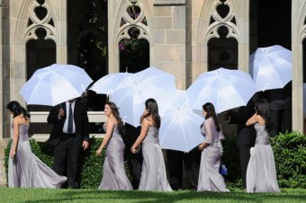 Bridesmaids seen going into the wedding party of baseball star jordan and Yvette Prieto.