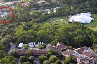 following service visitors had been transported to the huge football-field sized tent with clear roof panels, sweeping interior curtains and a purple carpeting, at Bear's Club gated neighborhood, where Jordan has actually a 37,000sq ft home (shown top left).