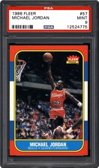 The grand award in PSA's hand out of Chicago activities icons memorabilia on 2015 National Sports Collectors Convention is this 1986 Fleer #57 novice card of jordan graded PSA Mint 9.