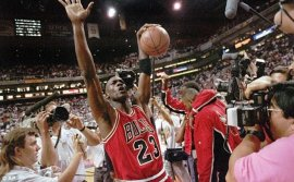 Ulitmate slam dunk: Jordan made a name for himself from the Chicago Bulls within the 1990s